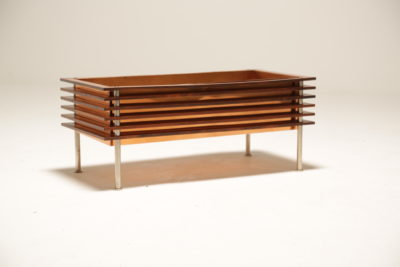 Vintage Scandinavian Rosewood and Copper Planter Trough