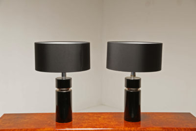 Pair of Black and Chrome Mid-Century Table Lamps
