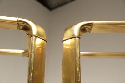 Mid Century Burlwood & Brass Etageres by John Widdicomb