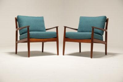 Vintage Grete Jalk Teak Framed Armchairs in Teal for France & Daverkosen