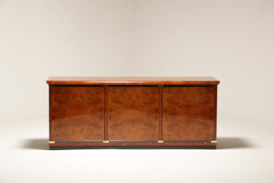 Vintage French 1970s Burlwood and Brass Sideboard
