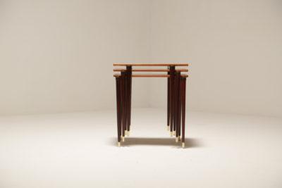 Vintage 1960s Teak & Brass Nest of Tables from A.B.S Ljungqvist Furniture Factory