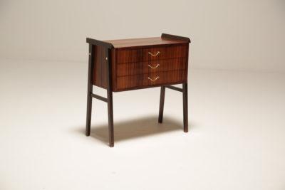 Vintage Scandinavian Small Dark Teak Drawer Unit