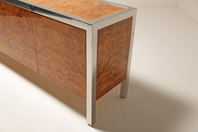 Pace Collection Burlwood and Chrome Sideboard