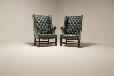 Victorian Style Silver Grey Buttoned Leather Wingback Armchairs with Ottomans