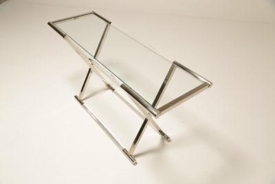 Mid Century Italian Chrome & Glass Console Table