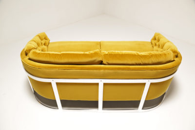Mid Century Chrome Framed Gold Velvet Sofa