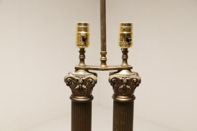 Victorian Brass Double Column Library Table Lamps