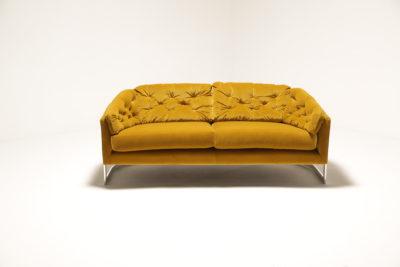 Mid Century 1970s Gold Velvet Chrome Framed sofa