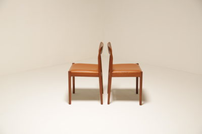 Vintage Teak and Tan Leather Dining Chairs
