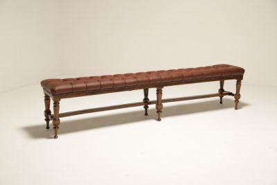 Antique Victorian Brown Buttoned Leather Library Bench