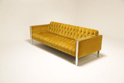 Mid Century Milo Baughman Style Cotton Gold Velvet Sofa