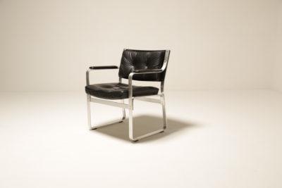 Vintage Karl Ekselius Black Leather Office Chair