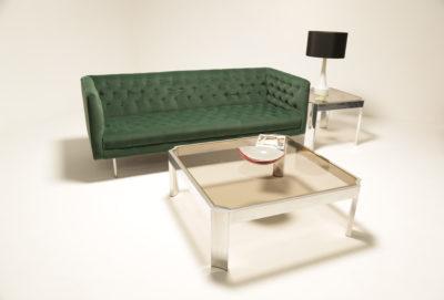Vintage Style Green Velvet Button Back Sofa [ON HOLD]