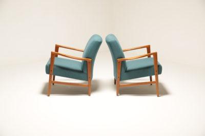 Vintage Pair of Upholstered Teak Armchairs