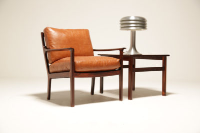 Vintage Tan Leather and Rosewood Armchair Model 935 by Fredrik Kayser for Vatne Mobler