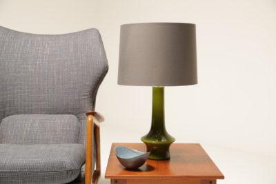 Vintage Swedish Green Glass Table Lamp