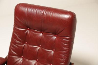 Vintage Burgundy Leather Swivel Armchair