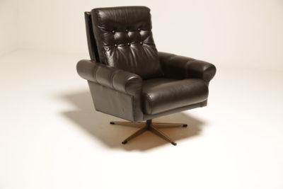 Vintage Swedish Leather Swivel Armchair