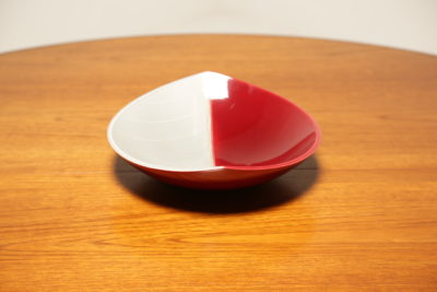 Red and Grey Leaf Shaped Dish by Carl Harry Stalhane for Rorstrand, 1954