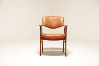 Vintage Danish Rosewood Tan Leather Armchair by Erik Kirkegaard