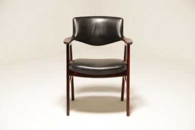 Vintage Danish Erik Kirkegaard Rosewood and Black Leather Armchair