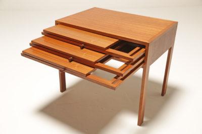 Vintage Nest of Three Teak Folding Tables by Illum Wikkelsø for CFC Silkeborg