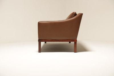 Vintage Brown Leather President Sofa by Ingemar Thilmark, Sweden