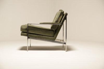 Vintage Cy Mann Green Velvet Chrome Lounge Chair