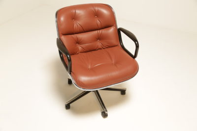 Vintage Charles Pollock Leather Executive Desk Chair for Knoll