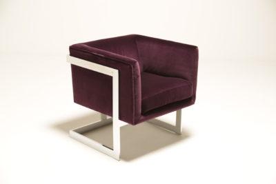 Mid Century Milo Baughman Plum Cotton Velvet Armchairs