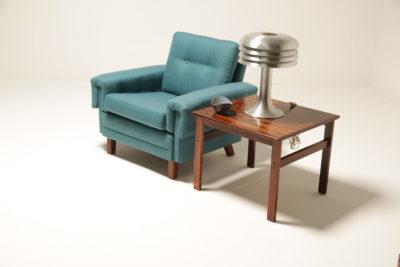 Vintage Scandinavian Teal Tweed Armchair