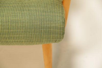 Vintage Swedish Birch and Green Tweed Armchair