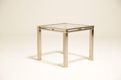 Vintage Italian Brushed Steel and Brass Side Table
