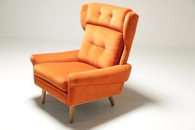 Jens Risom style Luxe Gold Velvet Armchairs