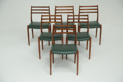 Niels Moller Teak and Leather Dining Chairs moller 75 chairs retro dining