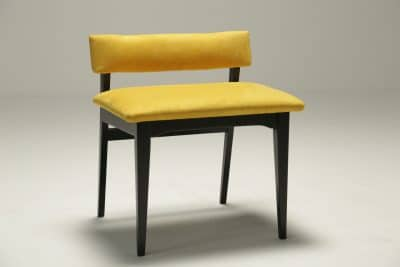 Vintage Teak Buttoned Vanity/Piano stool mid-century stool