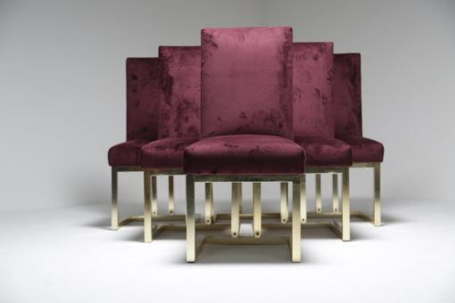 Brass and Purple Dining Chairs hollywood regency