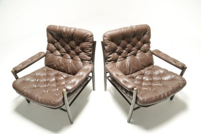 Buttoned Leather Armchairs by Dux, Sweden