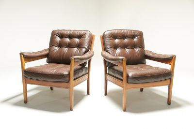 Pair of Leather Easy Chairs by Gote Mobler the vintage hub