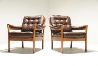 Pair of Leather Easy Chairs by Gote Mobler retro leather chair for sale
