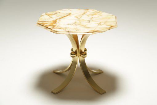 Mid-century Brass & Marble Side Table hollywood regency table