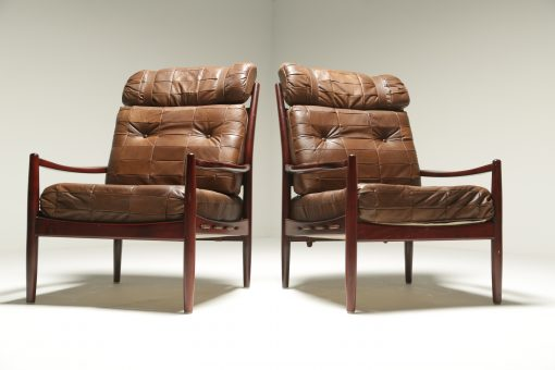 Mid-century Patchwork Leather Lounge Chairs the vintage hub