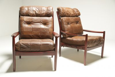 Mid-century Patchwork Leather Lounge Chairs