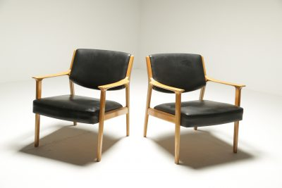 Pair of Danish Beech Frame Leather Armchairs [ON HOLD]