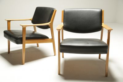 Pair of Danish Beech Frame Leather Armchairs