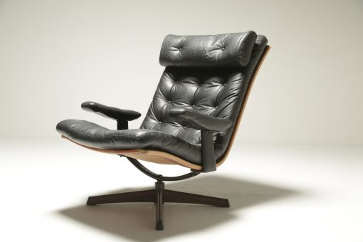 Leather Swivel Chair with Headrest by Gote Mobler the vintage hub