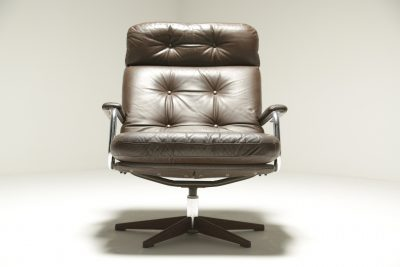 Vintage Brown Leather & Chrome Swivel Chair danish swivel chair