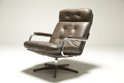 Vintage Brown Leather & Chrome Swivel Chair retro swivel chair
