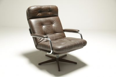 Vintage Brown Leather & Chrome Swivel Chair mid-century swivel chair